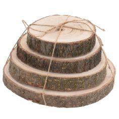 Set de 4 pièces de rondins de bois avec écorces