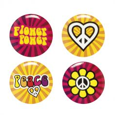 Set de 4 pin's - Hippie