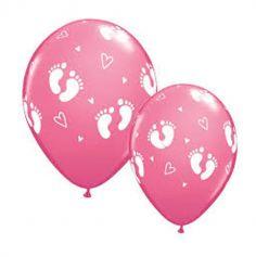 6 Ballons de Baudruche - Empreinte de Pieds Bébé - Rose
