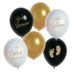 """Sachet de 6 Ballons Baby Shower """"Fille ou Garçon"""""""