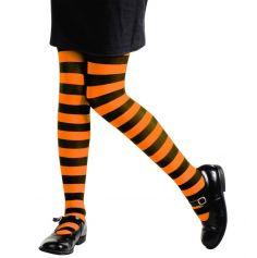Collants Rayés Orange et Noir Enfant - Taille au Choix