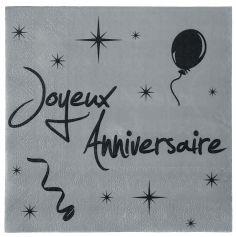 """20 Serviettes """"Joyeux anniversaire"""" - Argenté et Noir"""