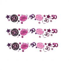 Trio de Confettis 50 Ans - Rose / Noir