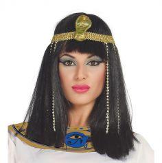 Perruque Egyptienne Femme avec Bandeau Doré
