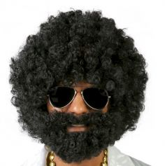 Perruque Afro Noire avec Barbe