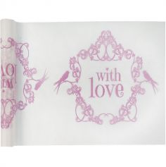 "Chemin de table ""With Love"" Vintage 30 cm x 5 m rose"