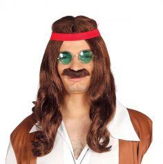 Perruque Hippie Homme avec Moustache