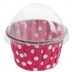 6 Contenants Cupcake à Pois - Fuchsia
