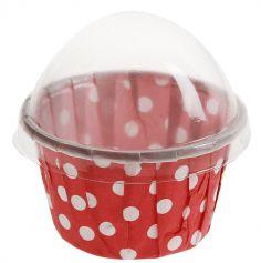 6 Contenants Cupcake à Pois - Rouge