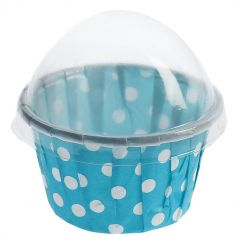 6 Contenants Cupcake à Pois - Turquoise