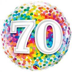 Ballon Anniversaire Confettis - 70 ans