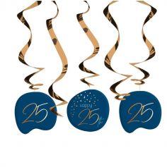 5 Spirales à suspendre - Anniversaire Elégant - Bleu & Or - Age au Choix