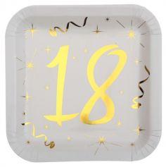 10 Assiettes en Carton Anniversaire - Blanc et Or - 18 ans | jourdefete.com