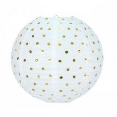 Lanterne Japonaise Blanche à Pois Or - 35 cm