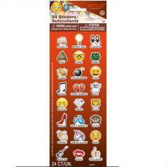 Planche de 24 Stickers Emoji avec texte