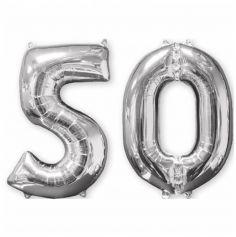 Ballons Hélium - 50 ans - Argentés