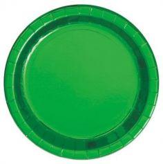 8 Grandes Assiettes en Carton - Vert Métallisé