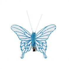 4 Papillons sur Pince - Turquoise