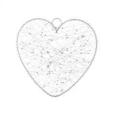 Cœur Métal Blanc - 20 cm
