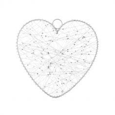 Cœur Métal Blanc - 25 cm