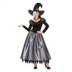 Halloween – Déguisement Femme – Sorcière avec chapeau – Noir et Argent (Taille au choix)