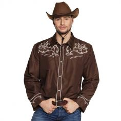 Chemise de Cow Boy Marron Homme - Taille au Choix