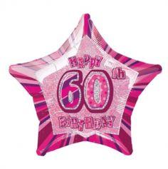 Ballon Métallique Hélium Etoile Holographique - Anniversaire 60 ans - Rose