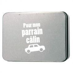 """Boîte Métallique Parrain - Inscription """"Pour mon parrain câlin"""""""