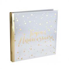 """Livre d'Or """"Joyeux Anniversaire"""" - Blanc / Or"""