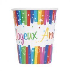 """8 Gobelets multicolores """"Joyeux Anniversaire"""""""