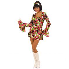Costume Disco 70's Framboise / Vert - Taille au Choix