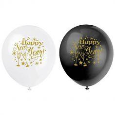 """Sachet de 8 Ballons de Baudruche """"Bonne Année"""" - Blanc et Noir"""