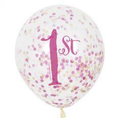 """6 Ballons """"1st"""" Roses à confettis"""