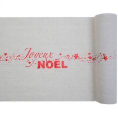 "Chemin de Table ""Joyeux Noël"" - Noël Rouge Métallisé"