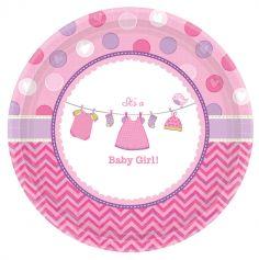8 Grandes Assiettes Cartonnées - It's a Baby Girl !