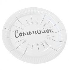 assiettes-carton-communion-argent | jourdefete.com
