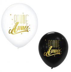 """6 Ballons """" Bonne Année """" Doré - Couleur au Choix"""