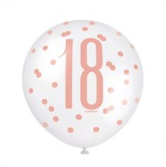 6 Ballons en latex - Glitz Rose Gold - Age au Choix