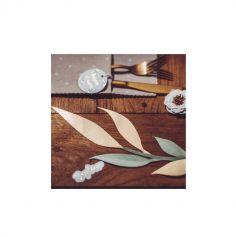 6 feuilles vertes et dorées - Embossé Or - 22/30 cm