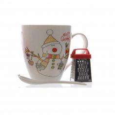 Coffret cadeaux - Set de Chocolat Chaud en porcelaine avec sa râpe et sa cuillère - Bonhomme de Neige