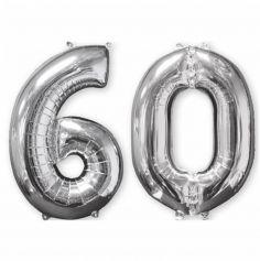 Ballons Hélium - 60 ans - Argentés
