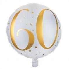 Ballons Alu Or et Blanc Joyeux anniversaire - 60 ans |jourdefete.com