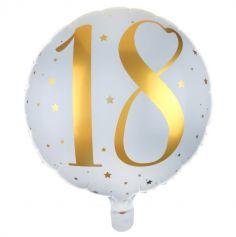 Ballon Anniversaire - Blanc et Or - 18 ans | jourdefete.com
