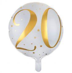 Ballon Anniversaire - Blanc et Or - 20 ans | jourdefete.com