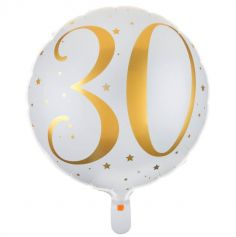 Ballon Anniversaire - Blanc et Or - 30 ans | jourdefete.com