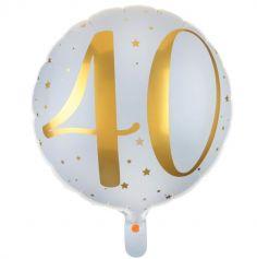 Ballon Anniversaire - Blanc et Or - 40 ans | jourdefete.com