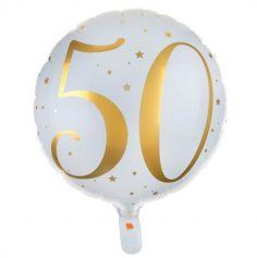 Ballon Anniversaire - Blanc et Or - 50 ans | JOURDEFETE.COM