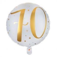 Ballon Anniversaire - Blanc et Or - 70 ans | jourdefete.com