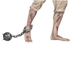 Chaine de prisonnier et son boulet pointu - 55 cm