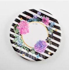 Sachet de 8 assiettes à Rayures Noires et Fleurs - 21 cm